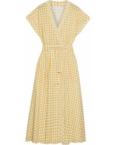 Желтое платье миди с подкладкой из крепа Iris & Ink