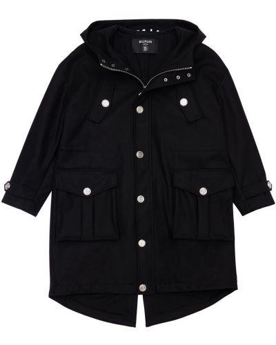 Черное пальто с капюшоном Balmain