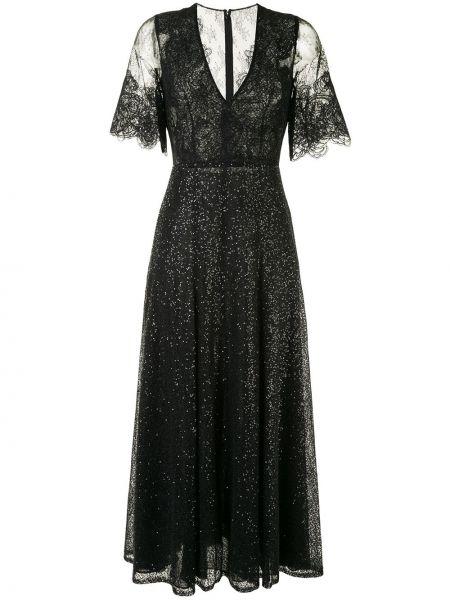 Черное платье мини с пайетками с V-образным вырезом на молнии Costarellos