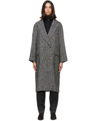 Шерстяное черное длинное пальто с воротником Isabel Marant Étoile