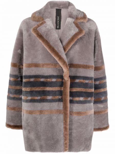 Серое пальто в полоску Blancha