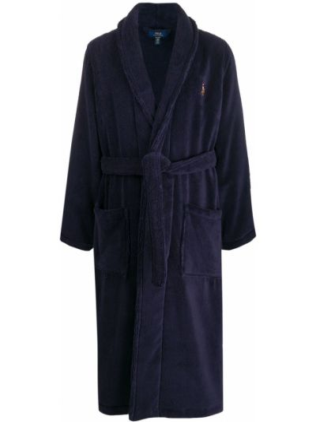 Синий хлопковый халат с запахом Polo Ralph Lauren