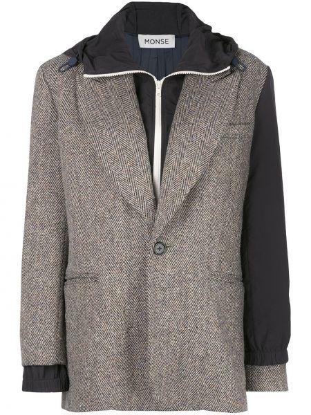 Нейлоновая куртка с капюшоном на молнии мятная с лацканами Monse
