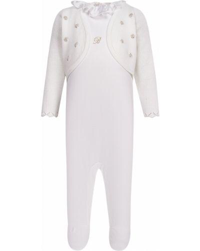 Хлопковый белый комбинезон Miss Blumarine