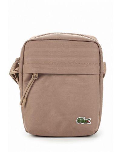 Бежевая сумка через плечо Lacoste