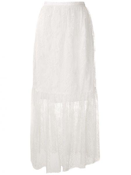 Белая прямая юбка макси на молнии с поясом Reinaldo Lourenço