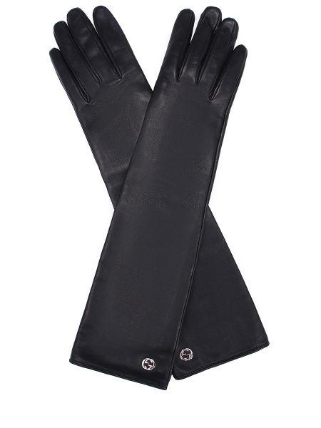 Черные шелковые перчатки длинные Gucci