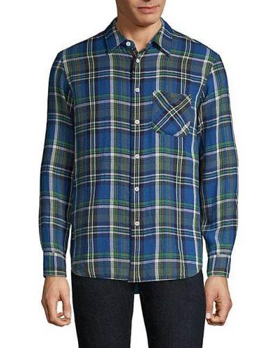 Niebieska klasyczna koszula bawełniana z długimi rękawami Rag & Bone