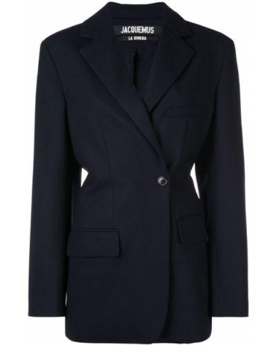 Костюмный синий пиджак свободного кроя Jacquemus