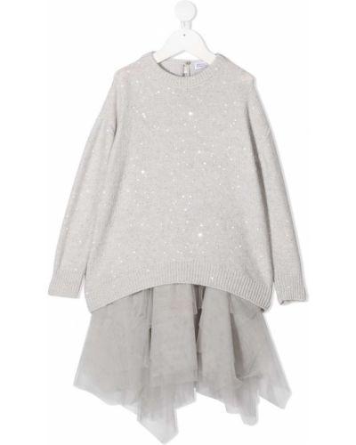 Платье с рукавами с пайетками из фатина на пуговицах с вырезом Brunello Cucinelli Kids