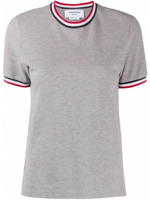 Хлопковая прямая серая футболка с круглым вырезом Thom Browne