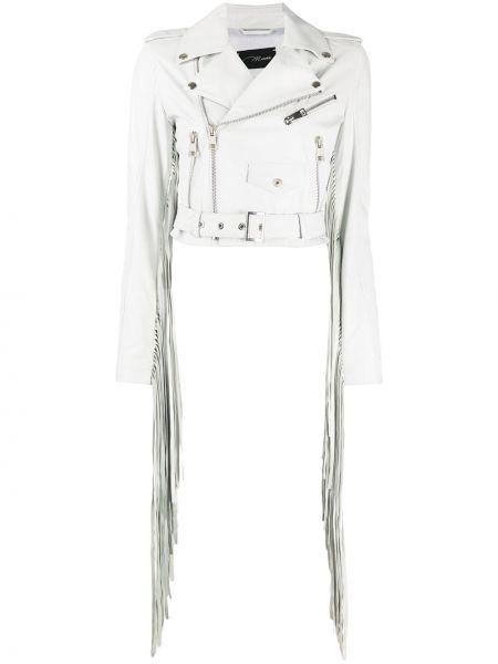 Белый кожаный удлиненный пиджак с бахромой Manokhi