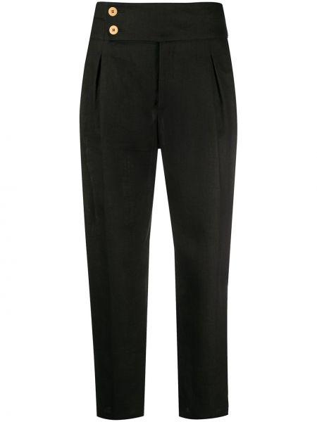 Spodnie z wysokim stanem czarne z kieszeniami L'autre Chose