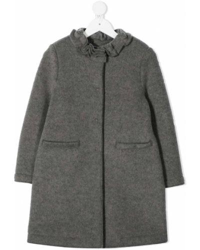 Серое шерстяное длинное пальто на молнии Il Gufo