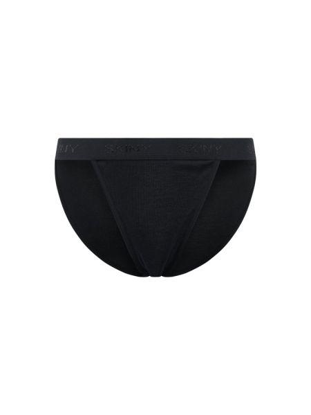Prążkowane czarne majtki bawełniane Skiny