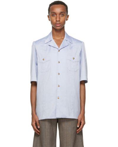 Niebieski bawełna koszula oxford z kieszeniami z łatami Gucci