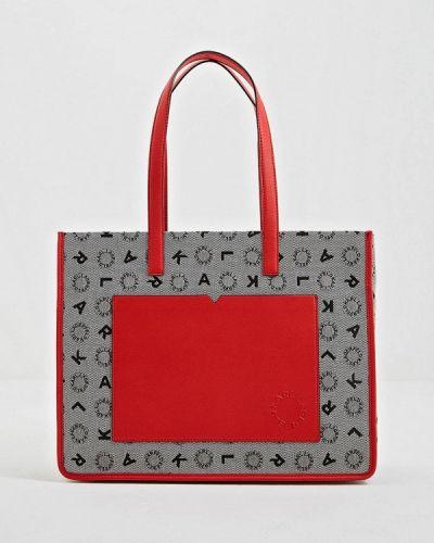 Кожаный сумка шоппер серый Karl Lagerfeld