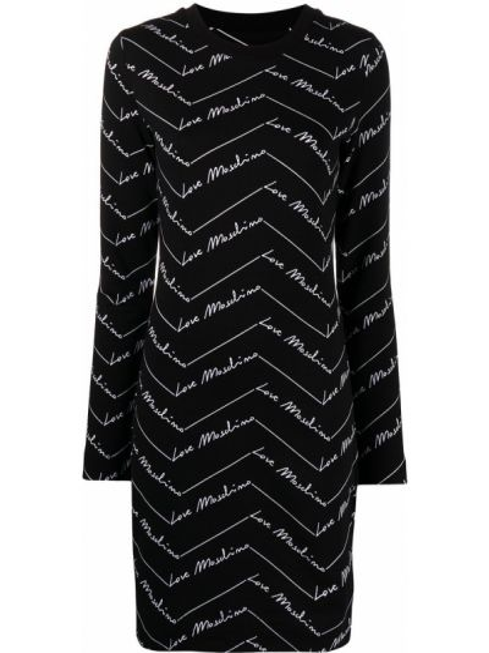 Трикотажное черное платье макси с длинными рукавами Love Moschino