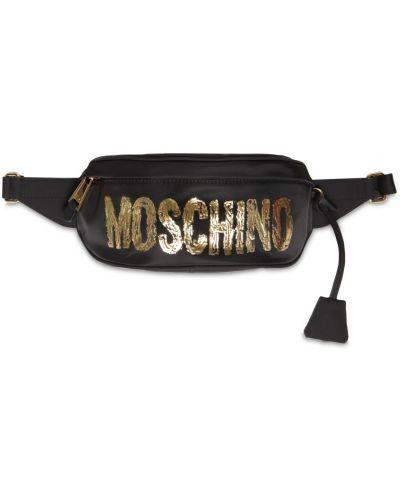 Кожаная поясная сумка с пряжкой с принтом Moschino