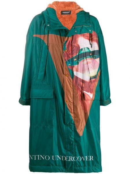 Zielony płaszcz z kapturem Undercover