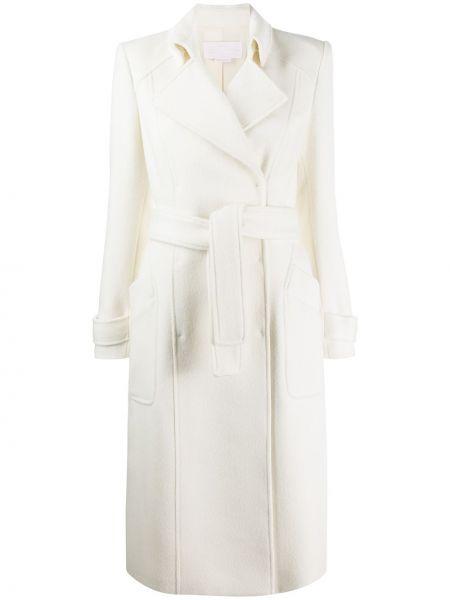 Biały płaszcz wełniany kopertowy Genny