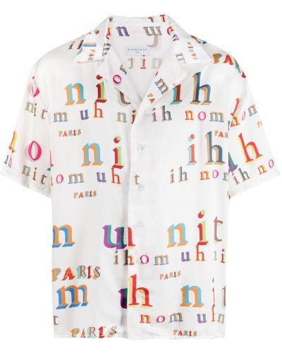 Biała koszula krótki rękaw z wiskozy Ih Nom Uh Nit