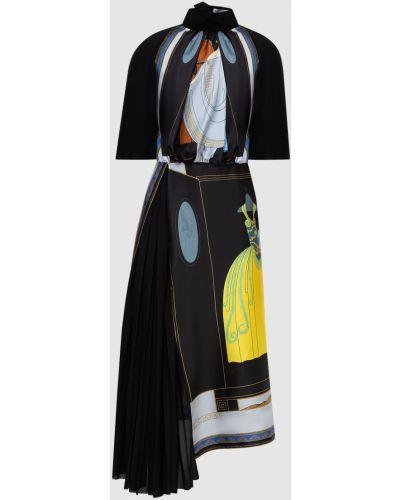Шелковое черное платье миди со вставками Lanvin