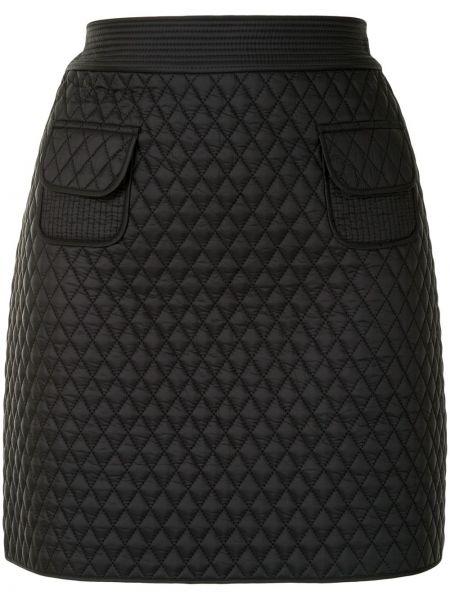 Черная прямая с завышенной талией юбка мини с карманами Paule Ka