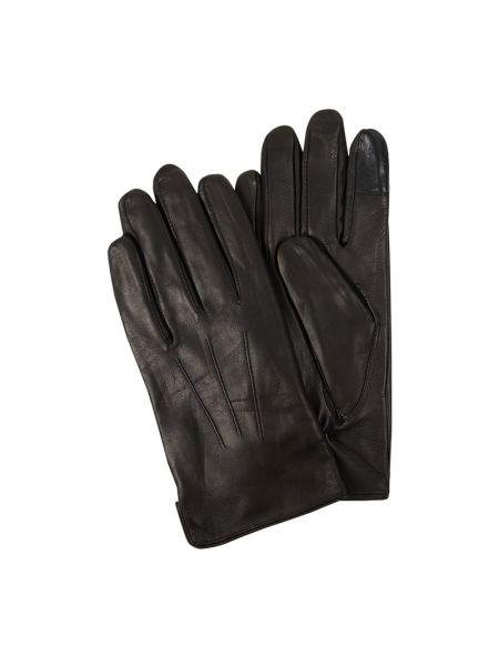 Skórzany czarny skórzany rękawiczki prążkowany Eem-fashion