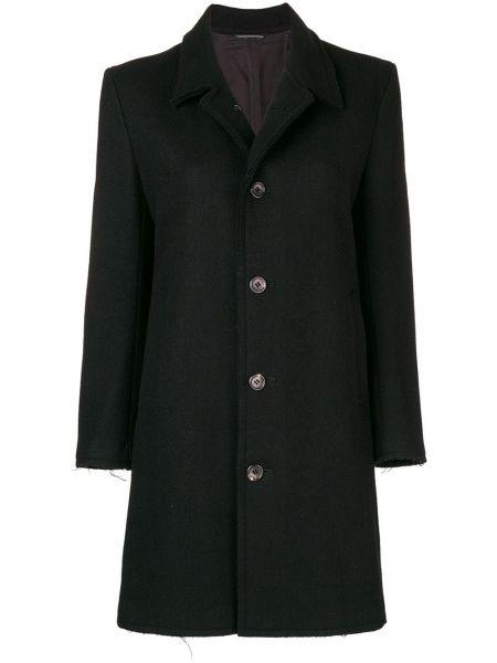 Шерстяное черное пальто классическое с капюшоном Yohji Yamamoto Pre-owned