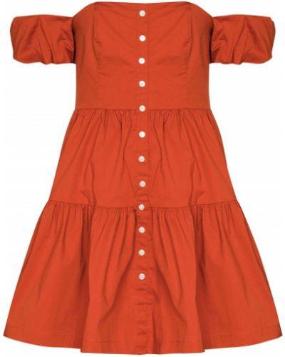 Хлопковое оранжевое платье мини с короткими рукавами Staud