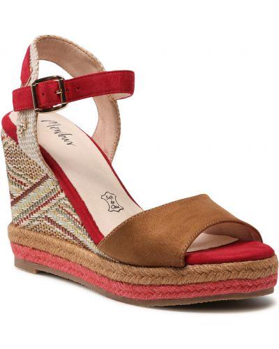 Brązowe sandały espadryle Menbur