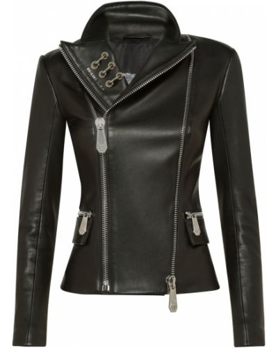 Кожаная куртка черная байкерская Philipp Plein