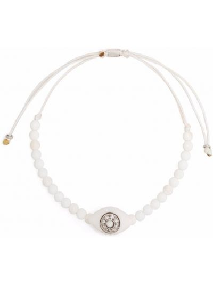 Złota bransoletka z koralikami - biała Anil Arjandas