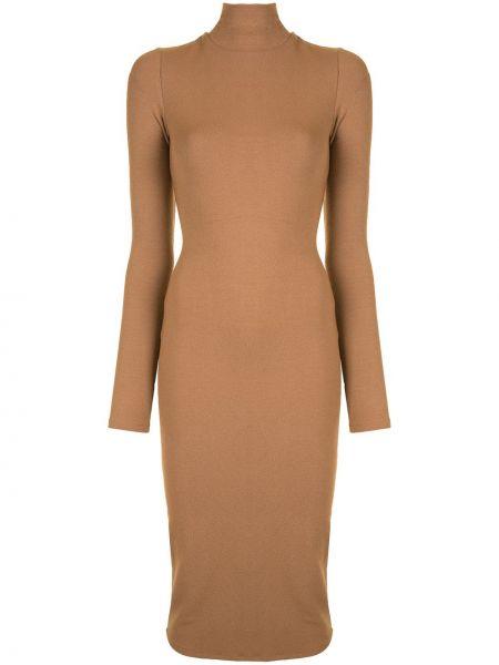 Нейлоновое коричневое тонкое платье миди с воротником Alice+olivia