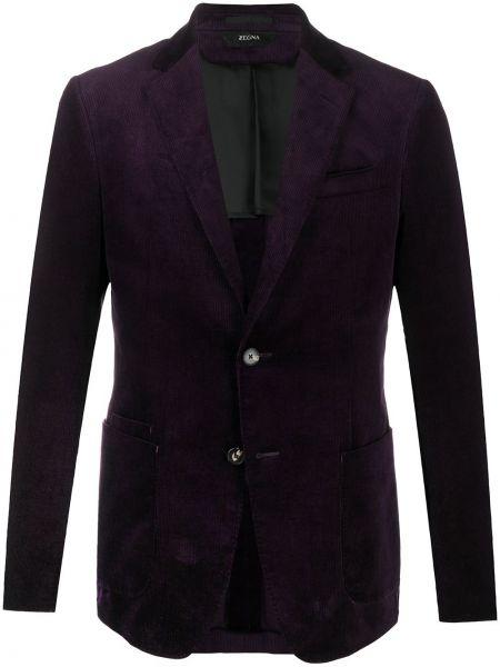 Однобортный малиновый удлиненный пиджак с накладными карманами Z Zegna
