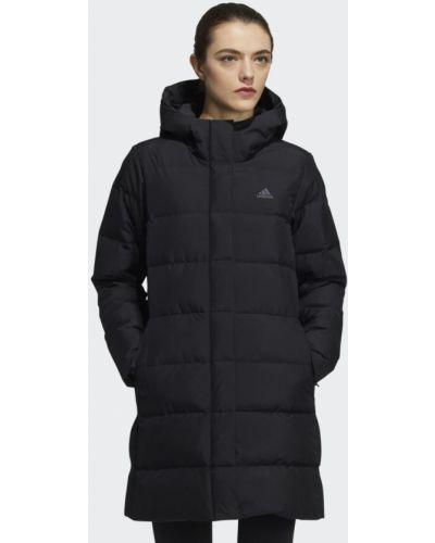 Черная длинная куртка Adidas