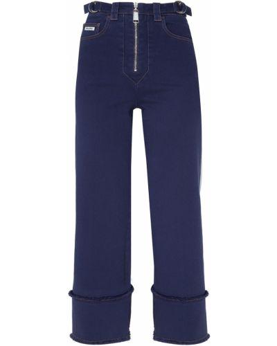 Синие укороченные брюки с карманами с отворотом с бахромой Miu Miu