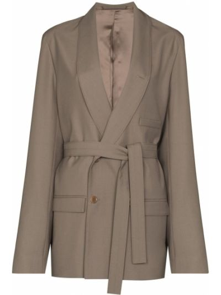 Серый удлиненный пиджак двубортный с карманами Lemaire