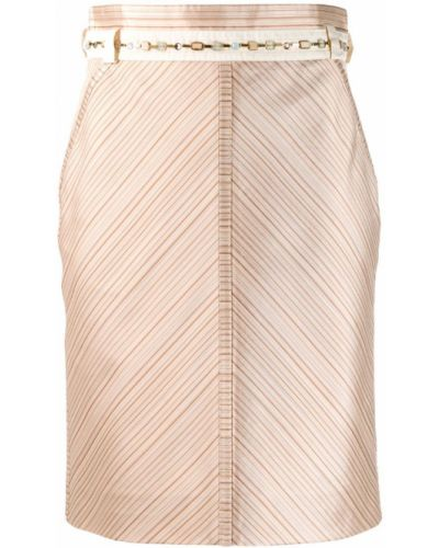 Бежевая прямая юбка мини с поясом Louis Vuitton Pre-owned