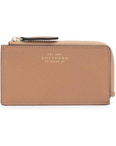 Brązowy złoty portfel Smythson