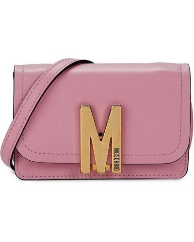 Кожаная косметичка - розовая Moschino