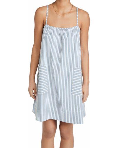 С ремешком синее платье в полоску Else