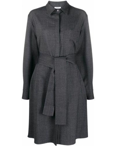 Шерстяное серое платье макси с поясом P.a.r.o.s.h.