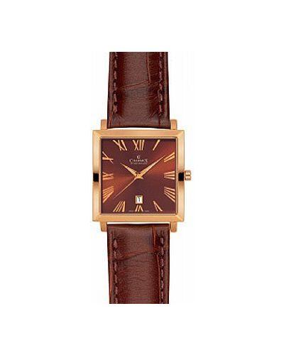 Часы с кожаным ремешком швейцарские позолоченные Charmex