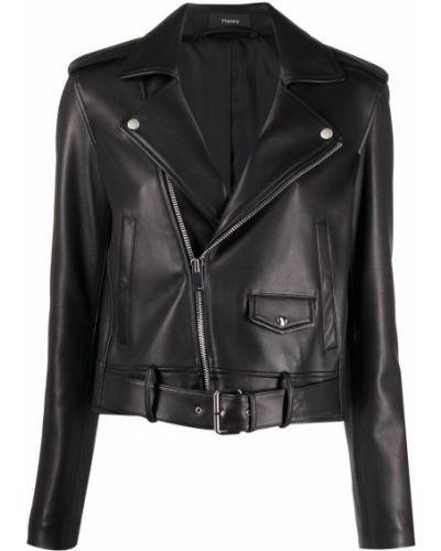 Черная кожаная короткая куртка на молнии Theory