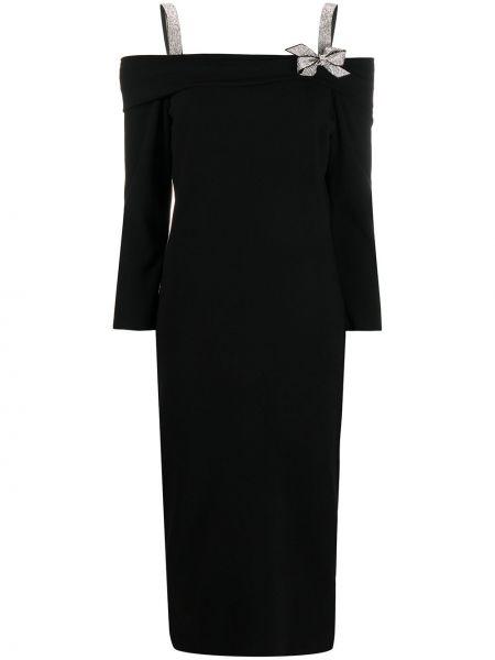 С рукавами черное приталенное платье из вискозы Blumarine