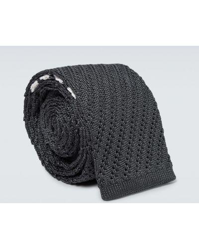 Шелковая черная резинка для волос в полоску Thom Browne