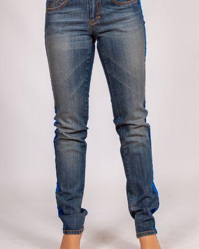 Синие джинсы классические с карманами с надписью Frankie Morello