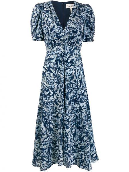 Платье мини с V-образным вырезом с поясом Saloni